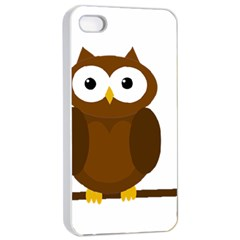 Cute transparent brown owl Apple iPhone 4/4s Seamless Case (White)