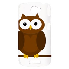 Cute transparent brown owl HTC One S Hardshell Case