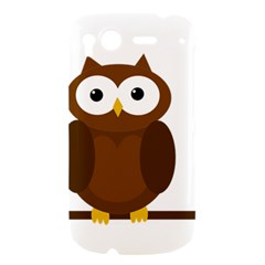 Cute transparent brown owl HTC Desire S Hardshell Case
