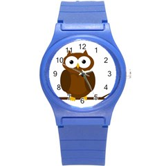 Cute transparent brown owl Round Plastic Sport Watch (S)
