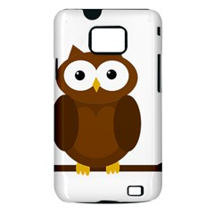 Cute transparent brown owl Samsung Galaxy S II i9100 Hardshell Case (PC+Silicone)