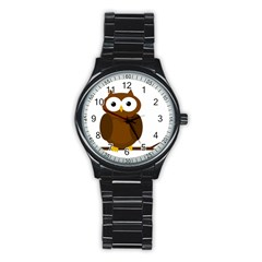 Cute transparent brown owl Stainless Steel Round Watch