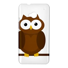 Cute transparent brown owl HTC One M7 Hardshell Case