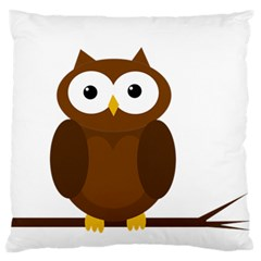 Cute transparent brown owl Large Flano Cushion Case (One Side)