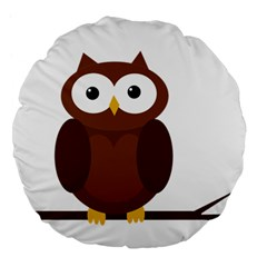 Cute transparent brown owl Large 18  Premium Flano Round Cushions