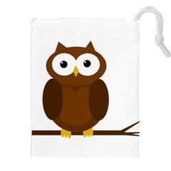 Cute transparent brown owl Drawstring Pouches (XXL)