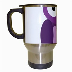 Purple transparetn owl Travel Mugs (White)