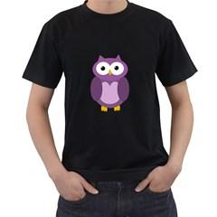 Purple transparetn owl Men s T-Shirt (Black)