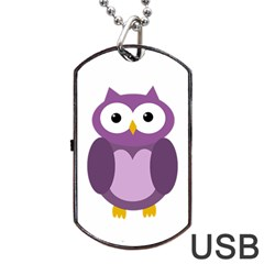 Purple transparetn owl Dog Tag USB Flash (Two Sides)