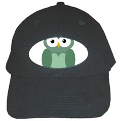 Green cute transparent owl Black Cap