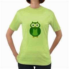 Green cute transparent owl Women s Green T-Shirt