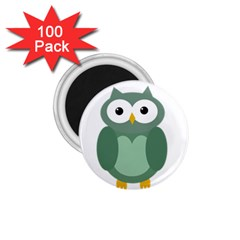 Green cute transparent owl 1.75  Magnets (100 pack)