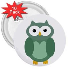 Green cute transparent owl 3  Buttons (10 pack)