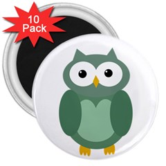 Green cute transparent owl 3  Magnets (10 pack)