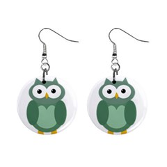 Green cute transparent owl Mini Button Earrings