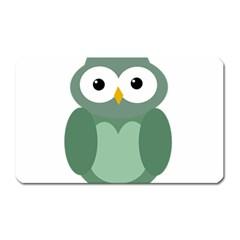Green cute transparent owl Magnet (Rectangular)