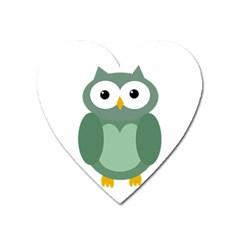 Green cute transparent owl Heart Magnet