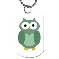 Green cute transparent owl Dog Tag (One Side)