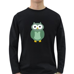 Green cute transparent owl Long Sleeve Dark T-Shirts