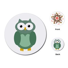 Green cute transparent owl Playing Cards (Round)