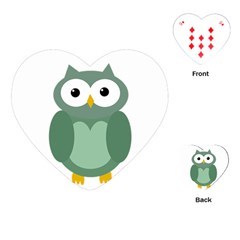 Green cute transparent owl Playing Cards (Heart)
