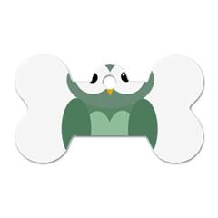 Green cute transparent owl Dog Tag Bone (One Side)