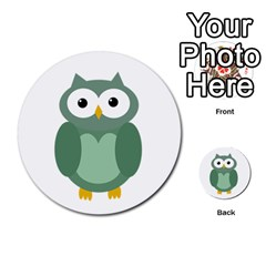 Green cute transparent owl Multi-purpose Cards (Round)