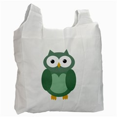 Green cute transparent owl Recycle Bag (Two Side)