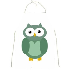 Green cute transparent owl Full Print Aprons