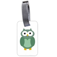 Green cute transparent owl Luggage Tags (Two Sides)
