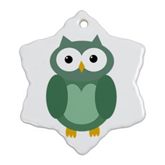 Green cute transparent owl Ornament (Snowflake)