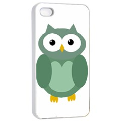 Green cute transparent owl Apple iPhone 4/4s Seamless Case (White)