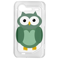 Green cute transparent owl HTC Incredible S Hardshell Case