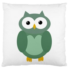 Green cute transparent owl Large Cushion Case (One Side)