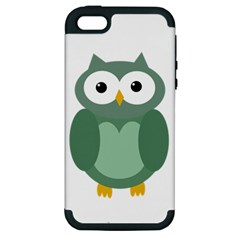 Green cute transparent owl Apple iPhone 5 Hardshell Case (PC+Silicone)