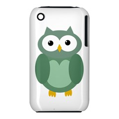 Green cute transparent owl Apple iPhone 3G/3GS Hardshell Case (PC+Silicone)