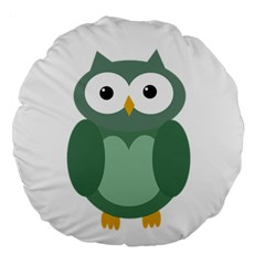Green cute transparent owl Large 18  Premium Round Cushions
