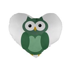 Green cute transparent owl Standard 16  Premium Heart Shape Cushions
