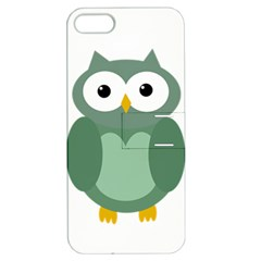 Green cute transparent owl Apple iPhone 5 Hardshell Case with Stand