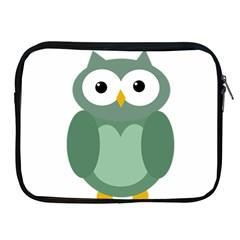 Green cute transparent owl Apple iPad 2/3/4 Zipper Cases