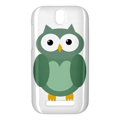 Green cute transparent owl HTC One SV Hardshell Case