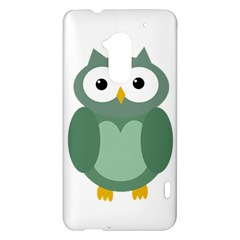 Green cute transparent owl HTC One Max (T6) Hardshell Case