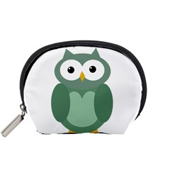 Green cute transparent owl Accessory Pouches (Small)