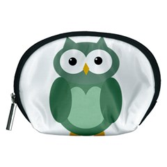 Green cute transparent owl Accessory Pouches (Medium)