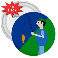 Fisherman 3  Buttons (10 pack)