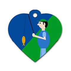 Fisherman Dog Tag Heart (One Side)