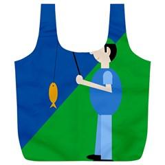 Fisherman Full Print Recycle Bags (L)