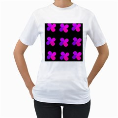 Purple flowers Women s T-Shirt (White) (Two Sided)