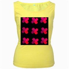 Purple flowers Women s Yellow Tank Top