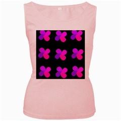 Purple flowers Women s Pink Tank Top